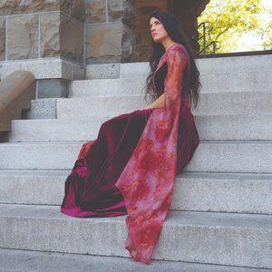 Burgundy Velvet /Floral Georgette Medieval Gown